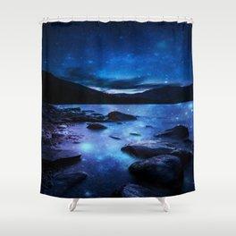 Magical Mountain Lake Dark Blue Shower Curtain