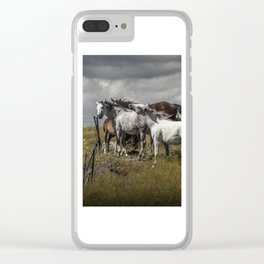 Western Horses by the Pasture Fence under a Cloudy Sky in Montana Clear iPhone Case