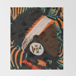 Zulu girl with zebraprint Throw Blanket
