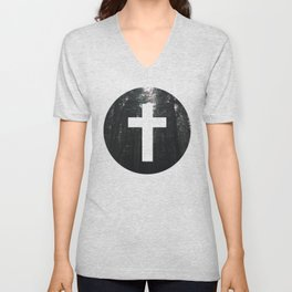 Cross Circle Unisex V-Neck