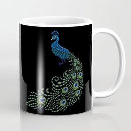 Jeweled Peacock on Black Coffee Mug