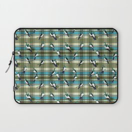 Kereru on green and turquoise plaid Laptop Sleeve