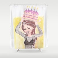 happy birthday Shower Curtains featuring Happy Birthday by carotoki art and love