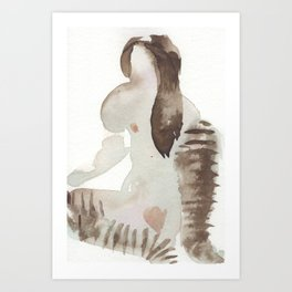 Erotic watercolor of Rain Art Print
