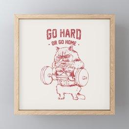 Go Hard or Go home Cat Framed Mini Art Print