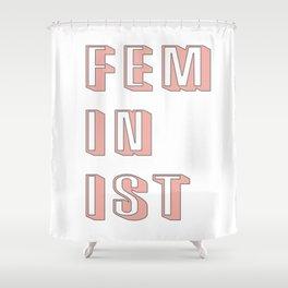 Pink Feminist Shower Curtain