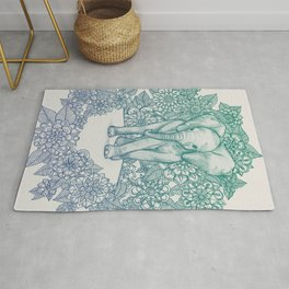 Emerald Elephant in the Lilac Evening Rug
