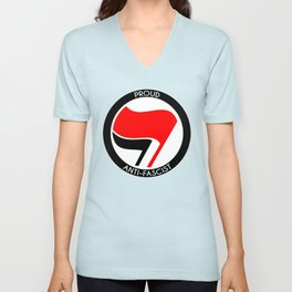 Proud Antifascist (white border) Unisex V-Neck