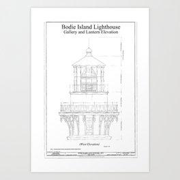 Blueprint art prints society6 vintage bodie island lighthouse blueprint art print malvernweather Images
