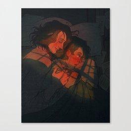 Marius and Courfeyrac Accidental Cuddling Canvas Print
