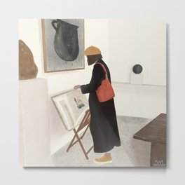 Woman in art gallery looking at prints and illustrations Metal Print