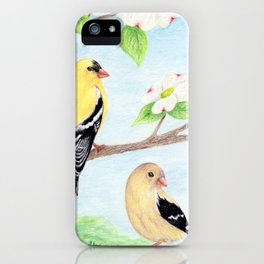 Goldfinches in Dogwood iPhone Case