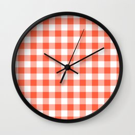 Jumbo Living Coral Color of the Year Orange and White Buffalo Check Plaid Wall Clock