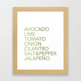 Guacamole Recipe Typography Framed Art Print