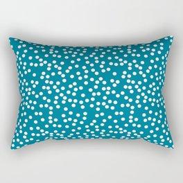 Dark Teal and White Polka Dot Pattern Rectangular Pillow