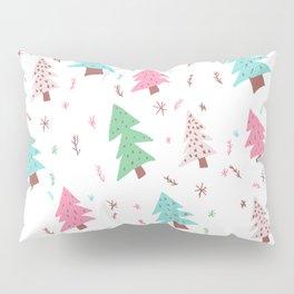 Modern pink green blue christmas tree snowflakes illustration pattern Pillow Sham