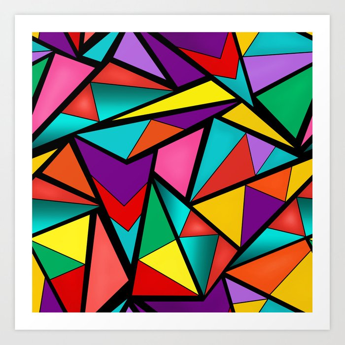Abstract bright multicolored geometric pattern . 4 . Art Print