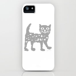 Gray cat pattern iPhone Case