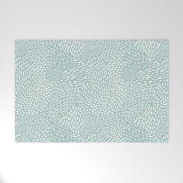 Abstract Brush Strokes, Sea Foam Welcome Mat