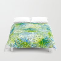 lime Duvet Covers featuring Space lime by Marcelo Romero
