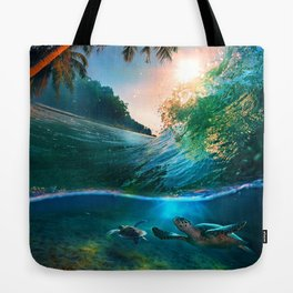 Palm Tree - Waves - Turtles - Beach - Ocean Tote Bag