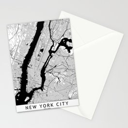 New York City Black and White Map Stationery Cards