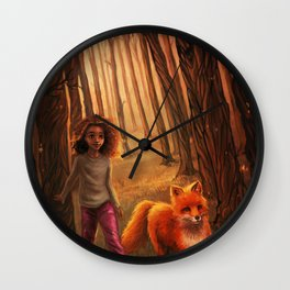 The Fox in the Forest Wall Clock