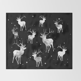 NOIR DEER PATTERN Throw Blanket
