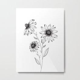 Wildflowers Ink Drawing Metal Print