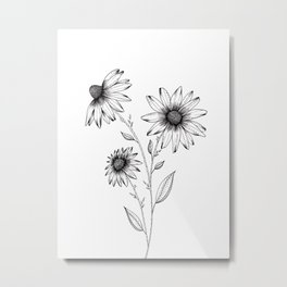 Wildflowers Ink Drawing Metal Print