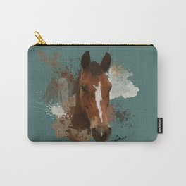 Brown and White Horse Watercolor Dark Carry-All Pouch
