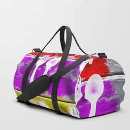 fork and spoon with splash painting texture abstract background in pink red yellow Duffle Bag