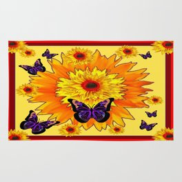 Red  Color Art Yellow Sunflower Butterflies Design Rug