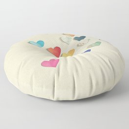 Paper Hearts Floor Pillow