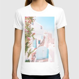 Santorini Greece Mamma Mia Pink House Travel Photography T-shirt