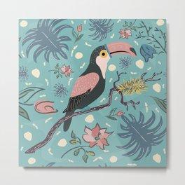 Toucan Bird of Magical Blue Forest Metal Print