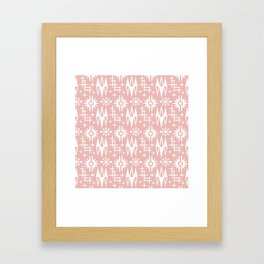 Mid Century Modern Atomic Space Age Pattern Dusty Rose Framed Art Print