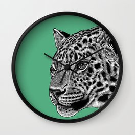 Amur leopard cub - green - big cat Wall Clock