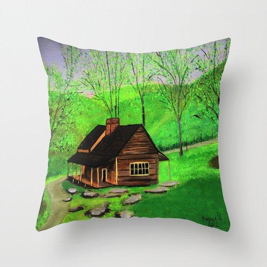 Hillside cabin Throw Pillow