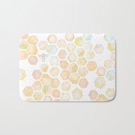 Bee and honeycomb watercolor Bath Mat