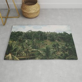 Bali Tegalalang Indonesia - Palm Trees - Rice Fields - Mountain Travel Photography Rug
