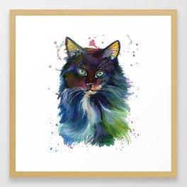 Colorful fluffy Kitty Framed Art Print