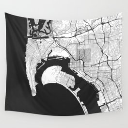 San Diego Map Gray Wall Tapestry