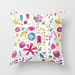 Autumn Hedgerow Flowers Throw Pillow