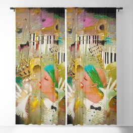 African American Masterpiece 'Jazz Songbird at the Apollo Theatre' by Tatyana Palchuk Blackout Curtain