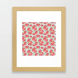 English Roses Blue Polka Dots Framed Art Print