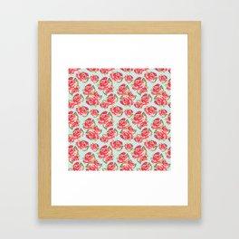 English Roses Blue Polka Dots Framed Art Print