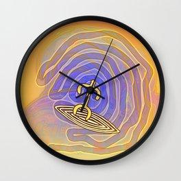 Surfer / Tribal Prints on Yellow Wall Clock