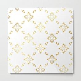 Golden Thai Pattern Metal Print