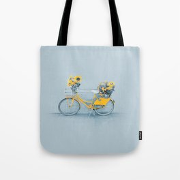 Yellow vintage bike with sunflowers Tote Bag
